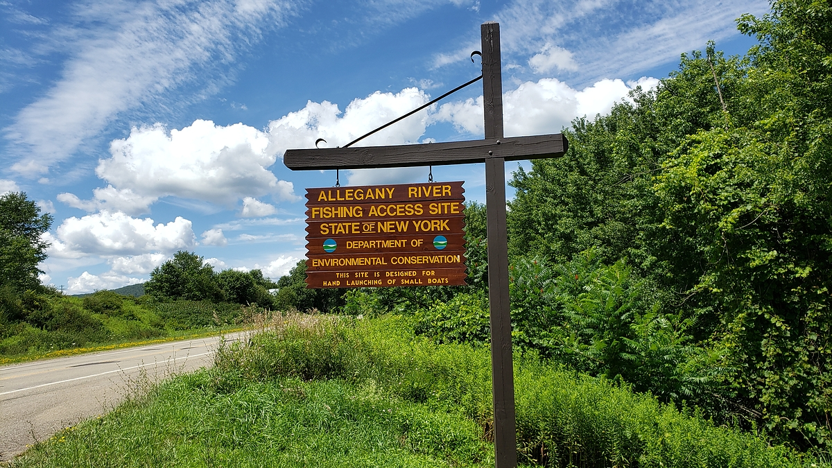 Sign by the road of Allegany boat launch