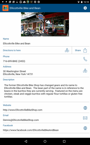 Screenshot of the Ellicottville Bike and Bean on the EM App on Android Device
