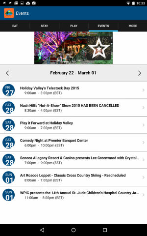 Screenshot of the Events on the EM App on Android