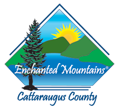 Badge for the Enchanted Mountains of Cattaraugus County with a transparent background