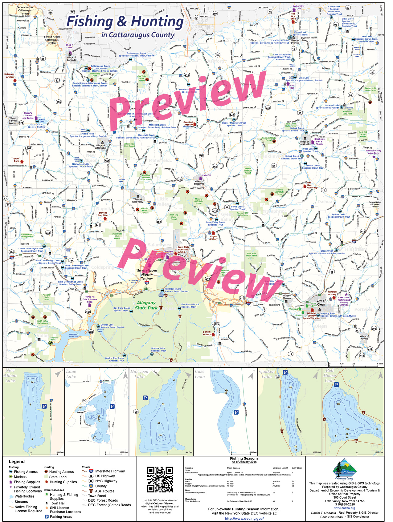 Cattaraugus county outdoor fishing hunting map for New york out of state fishing license