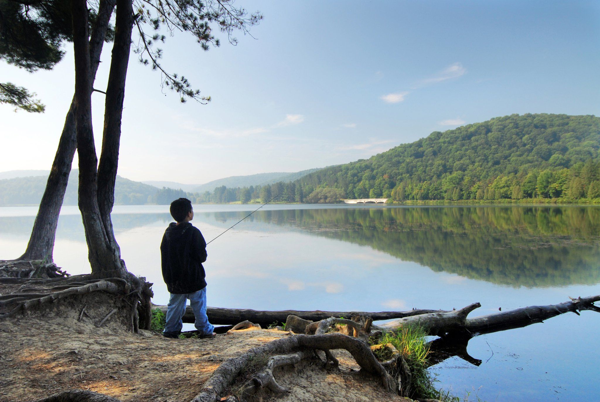 Photo of Boy fishing at Red House Lake