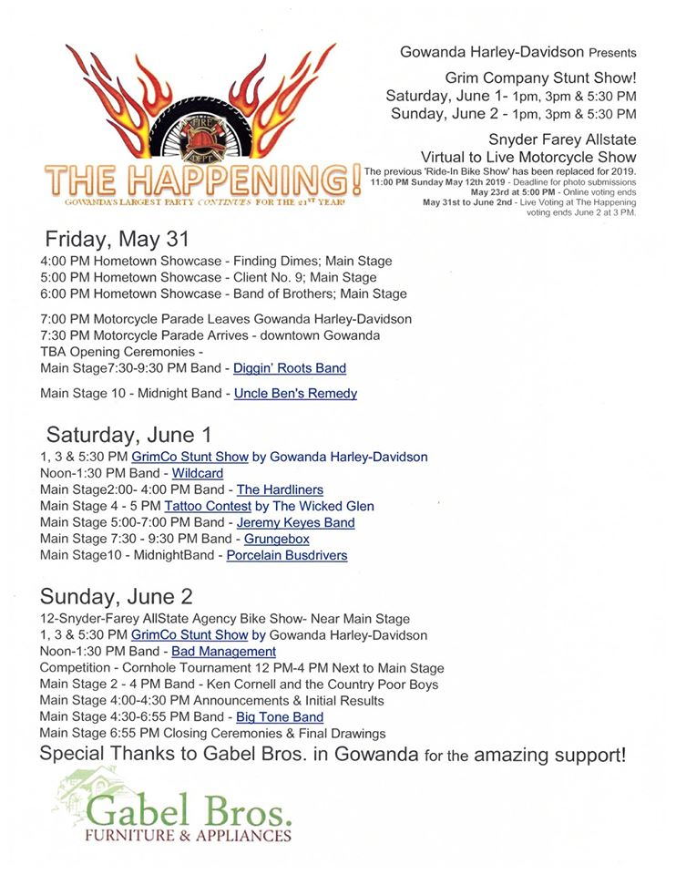 The Happening Motorcycle Event Schedule