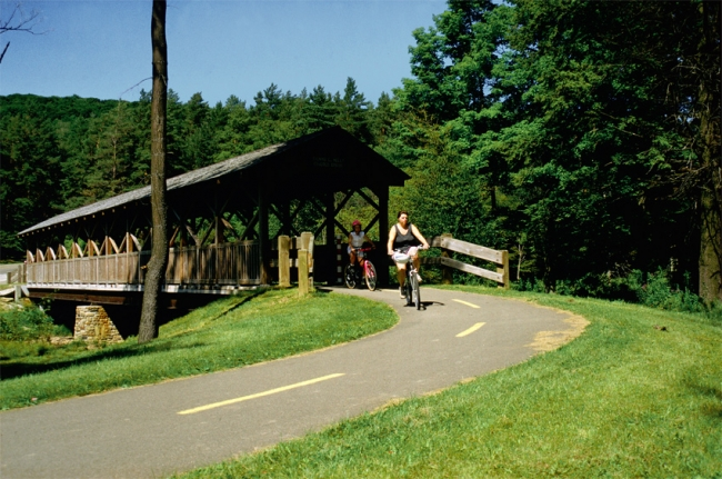 Family bicycling at Allegany State Park