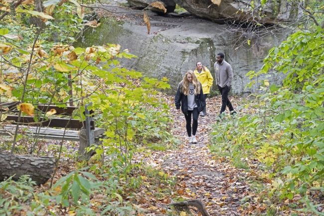 St. Bonaventure Students Hiking at Rock City Park in the Fall