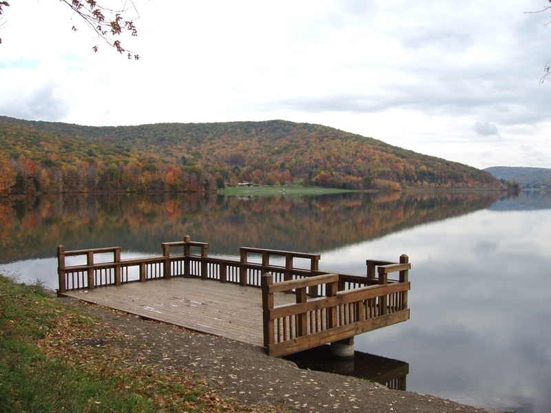 Quaker Lake Fishing Platform at Allegany State Park. Credit: Tom Livak