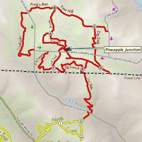 Image for Map of Horseback riding trails at Pine Hill / South Valley Forest