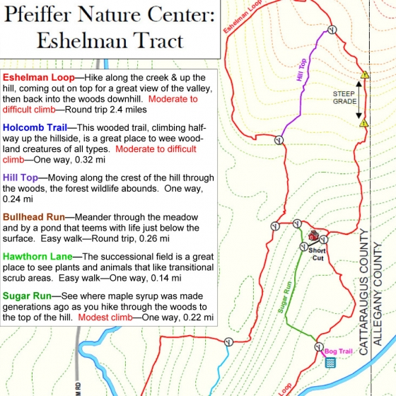 Preview of the Map of the Eshelman Trails at Pfeiffer Nature Center