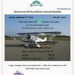 Flyer for the 2016 Fall Fly-In, Drive-In Breakfast