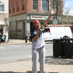 Della announcing during the Walking Tour in Olean