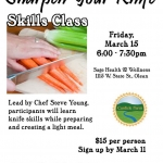 "Poster for Canticle Farm ""knife skills"" class"