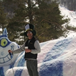 snow sculptures are part of the fun!