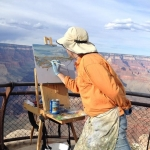 Annear at work on the rim of the Grand Canyon