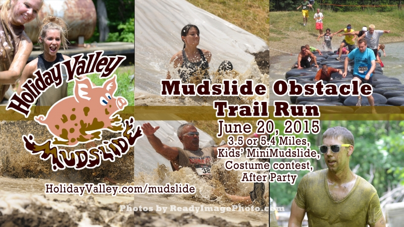 Holiday Valley Mudslide banner collage of the mud run