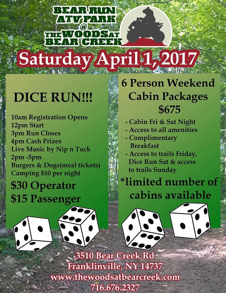 April 2017 ATV Dice Run at Woods at Bear Creek