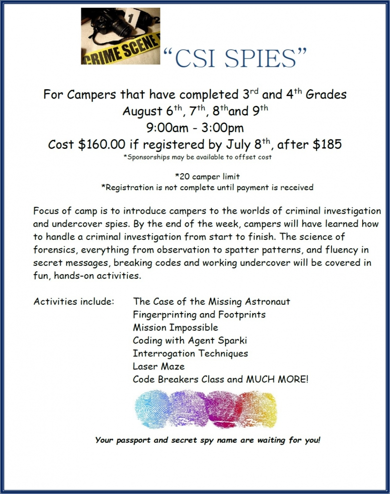 CSI Spy Camp at Challenger Learning Center