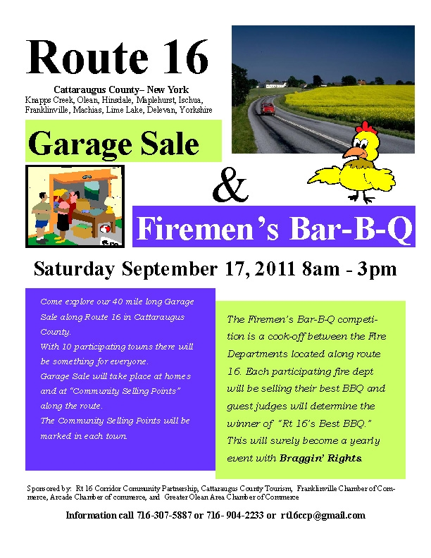 Flyer for the Route 16 Garage Sale & Firemen's Bar-B-Q
