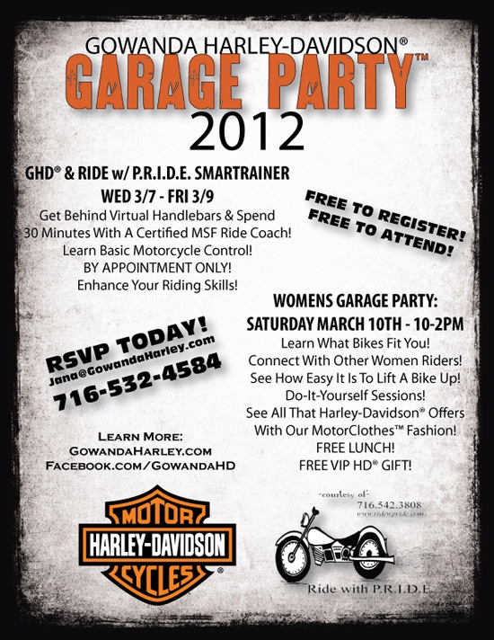 Poster for the 2012 Gowanda Harley-Davidson Garage Party on 3/7-3/10