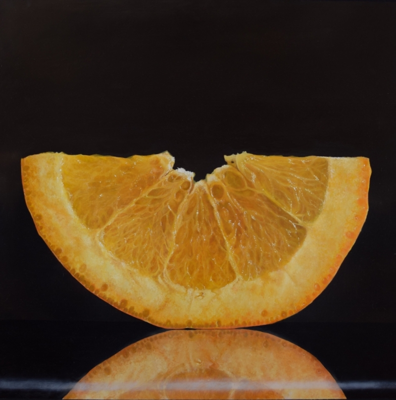 A mouth watering slice of orange painted by Gina Pfleegor.