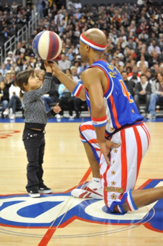 Having fun with the Harlem Globetrotters