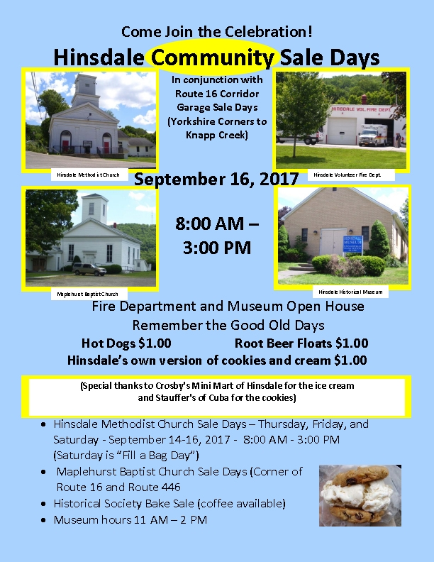 Hinsdale Community Days and Rt. 16 Garage Sales 2017
