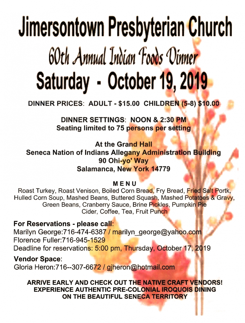 59th Annual Indian Foods Dinner Salamanca Flyer
