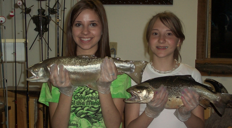 Girls with the fish they caught