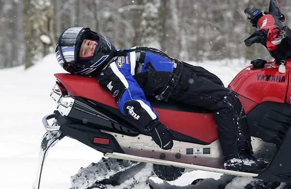Taking a snowmobile break