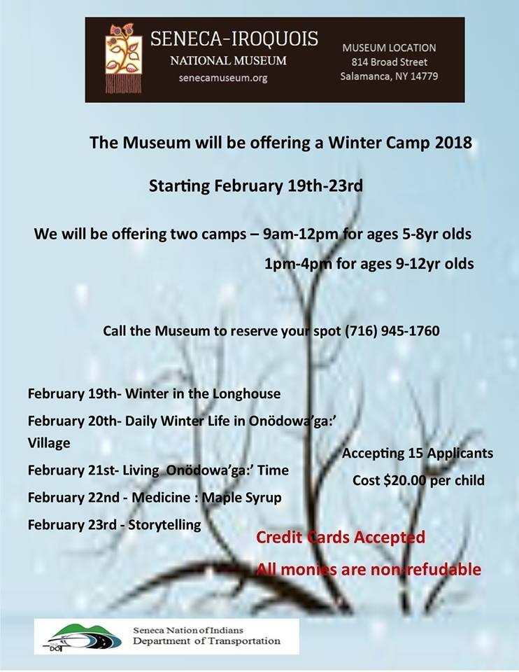 Winter Camp at the Seneca Museum