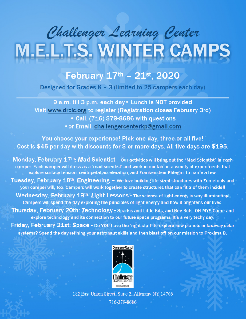 Winter Camp Poster at Challenger Learning Center