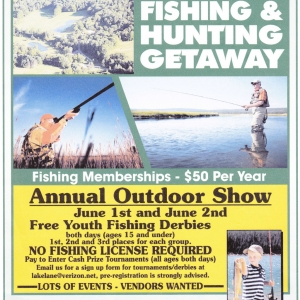 Poster for June 1-2, 2013 Outdoor Show at Lake Lane Fishing and Hunting, Olean