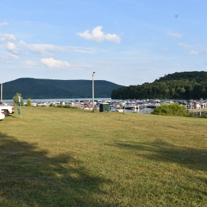 A view of some parked cars and the boats at marina from Onoville Marina Park