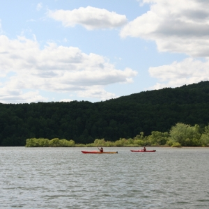 People kayaking on the Allegheny Reservoir from Onoville Marina