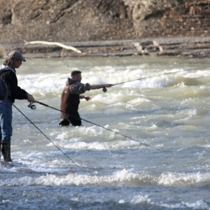 Fishermen enjoy Steelhead fishing in Cattaraugus Creek in Gowanda by Rick Miller