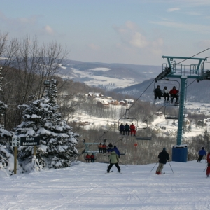 Skiiers on the slopes at Holiday Valley