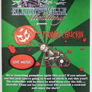 Poster for Punkin Chuckin at the Ellicottville Distillery