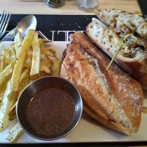 Photo of sandwich and fries