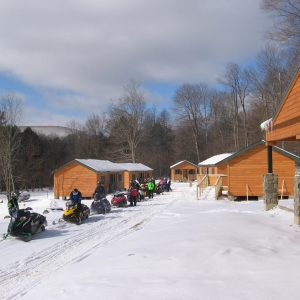 Snowmobiles at Allegany State Park's Group Camp 5 in the Winter
