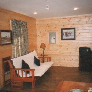 Living room in one of the cabins
