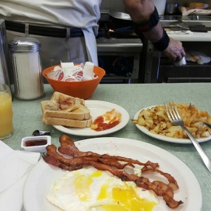 Classic breakfast in a classic diner.