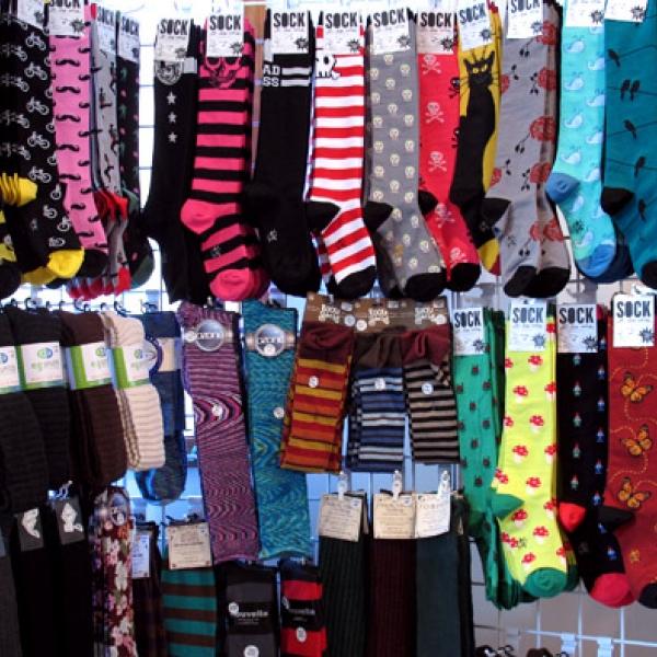 sock display at Purple Doorknob