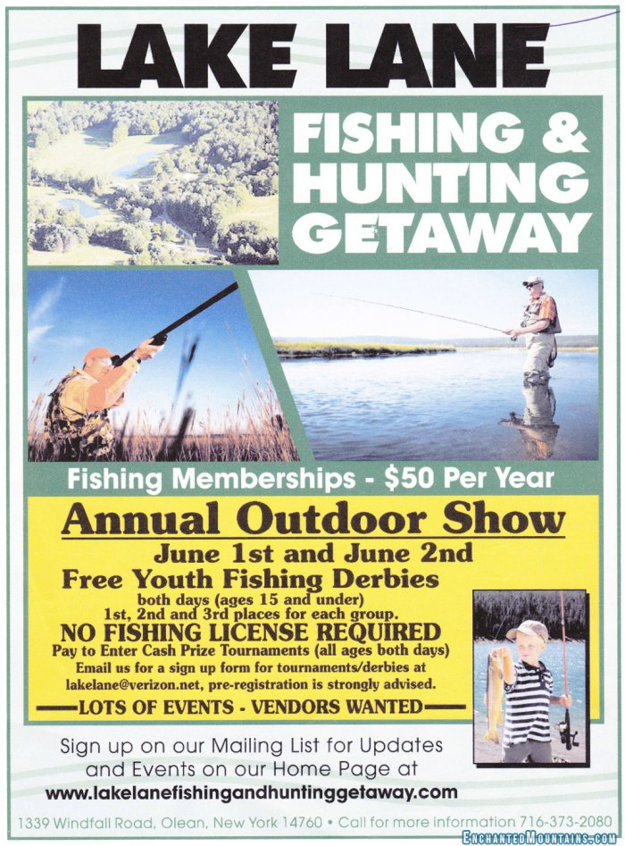 Lake lane fishing hunting getaway annual sports show for New york fishing license online