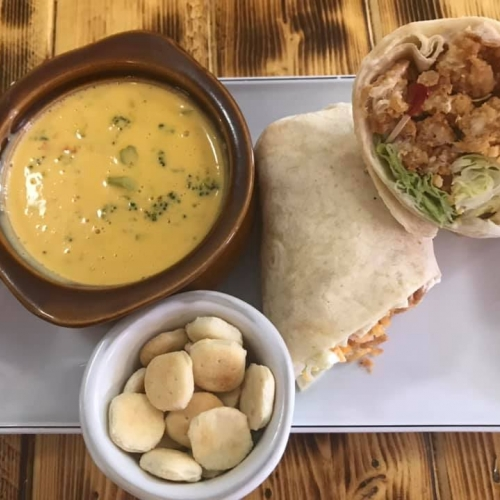 Photo of crispy chicken wrap and soup
