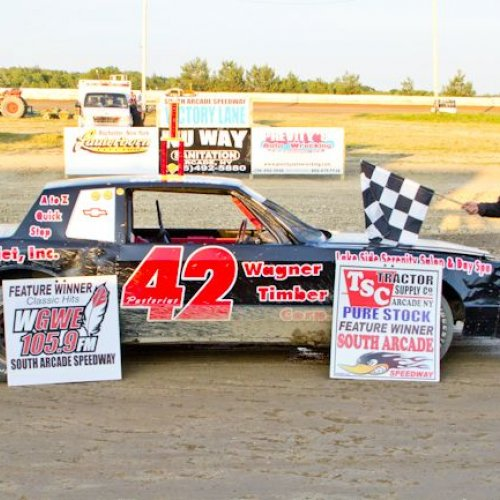 Photo of a winner at previous South Arcade Speedway