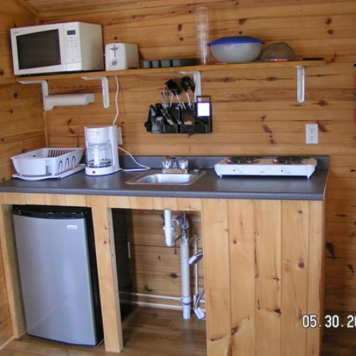 Photo of the kitchenette in a cabin at Elkdale RV Resort