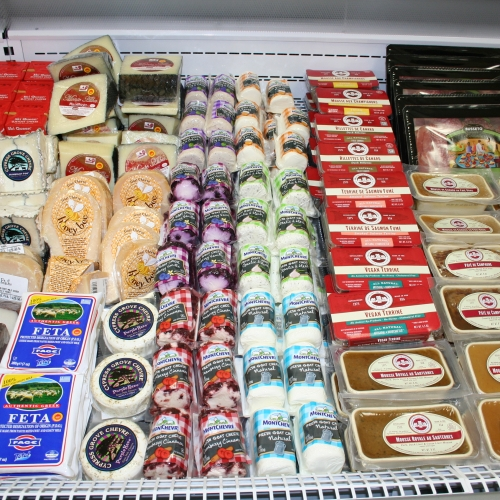 display of cheeses