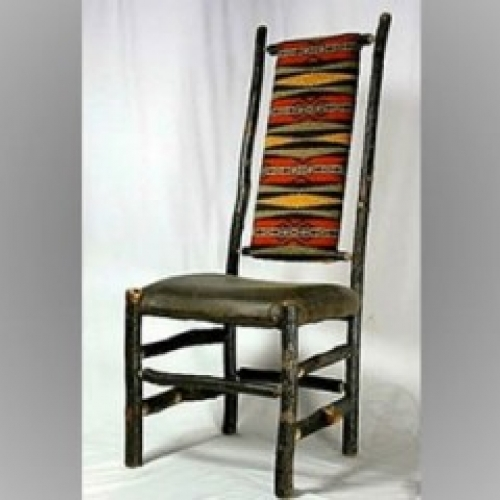 Hickory high back chair with leather seat