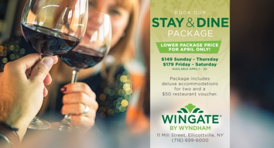Stay & Dine Package at the Ellicottville Wingate for April 2018