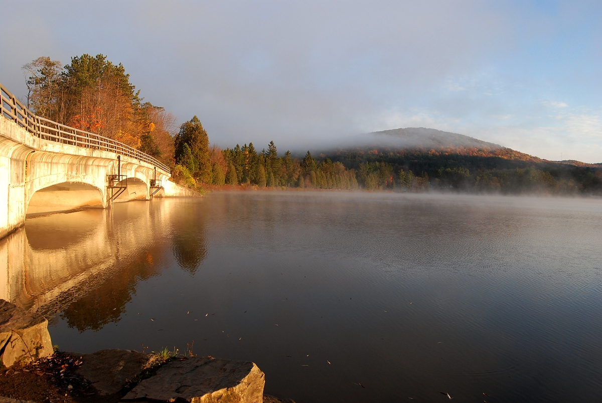 The Red House Lake Dam and bridge in Allegany State Park, 2007