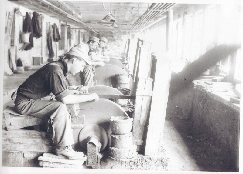 Photo of men working on cutlery from American Cutlery Museum